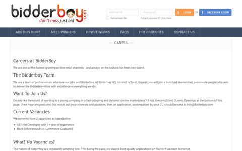 Screenshot of Jobs Page bidderboy.com - Bidderboy.com - Job opportunity at bidderboy - captured Nov. 22, 2016