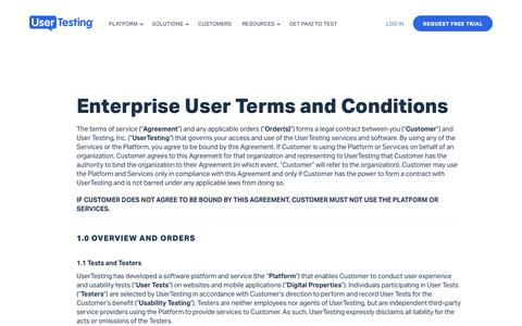 Screenshot of Terms Page usertesting.com - Enterprise User Terms and Conditions | UserTesting - captured May 27, 2018