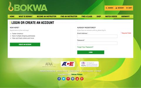 Screenshot of Login Page bokwafitness.com - Customer Login - captured July 21, 2016