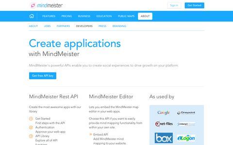 Screenshot of Developers Page mindmeister.com - Developers - captured Sept. 11, 2014