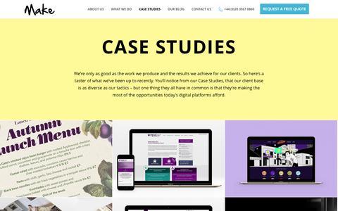 Screenshot of Case Studies Page makeagency.co.uk - Case Studies - Make Agency London - captured Feb. 4, 2016