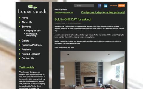Screenshot of Blog housecoach.ca - Blog | House Coach - Toronto Home Staging - captured Sept. 30, 2014