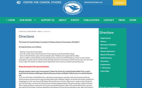 Screenshot of Maps & Directions Page coastalstudies.org - Directions | Center for Coastal Studies - captured Sept. 30, 2018