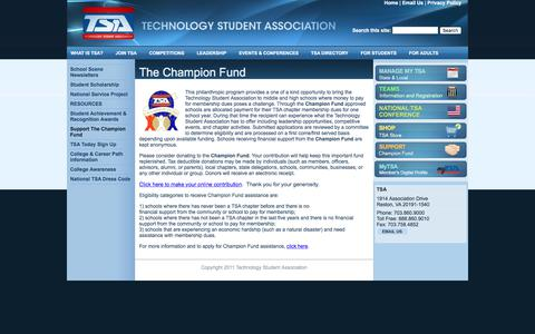 Screenshot of Support Page tsaweb.org - The Champion Fund | Technology Student Association - captured June 27, 2017