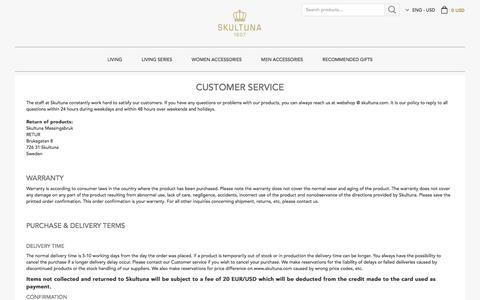 Screenshot of Support Page skultuna.com - Customer Service I Skultuna 1607 - Global Online Store - captured Oct. 5, 2017