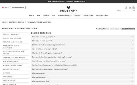Screenshot of FAQ Page belstaff.com - Belstaff | Frequently Asked Questions | Customer Care - captured Feb. 14, 2018