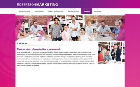 Screenshot of Jobs Page robertsonmarketing.com - :: Welcome to Robertson Marketing Group - Ecommerce - Fulfillment - Rewards - Loyalty -  Brand Merchandising - Roberston Marketing.::  - Careers - captured Aug. 14, 2016