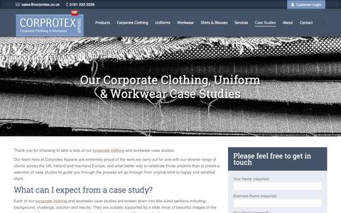 Screenshot of Case Studies Page corprotex.com - Corporate Clothing, Uniform & Workwear Case Studies | Corprotex | UK - captured Sept. 29, 2018