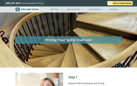 Screenshot of Pricing Page salterspiralstair.com - How Much Does a Spiral Staircase Cost? Calculate Now - captured July 27, 2018