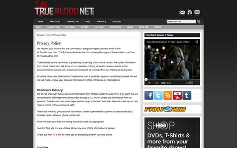 Screenshot of Privacy Page truebloodnet.com - Privacy Policy : True Blood News- ALL the True Blood Season 7 Spoilers Videos Interviews - captured Sept. 19, 2014