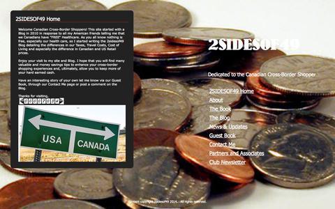Screenshot of Home Page 2sidesof49.com - 2SIDESOF49 - captured Sept. 30, 2014