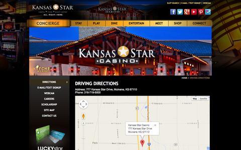 Screenshot of Maps & Directions Page kansasstarcasino.com - Driving Directions To Kansas Star Casino    KansasStarCasino.com - captured Oct. 29, 2014