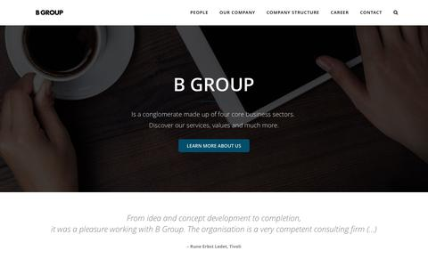 Screenshot of Home Page b-group.dk - B GROUP | B Group is a conglomerate made up of four core business sectors. We're involved in a wide range of activities in the learning, consulting, entertainment, fashion and leisure industries. - captured Jan. 24, 2016