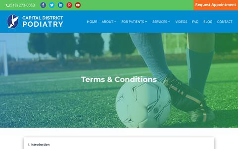 Screenshot of Terms Page capitaldistrictpodiatry.com - Terms & Conditions | Capital District Podiatry - captured Sept. 26, 2018