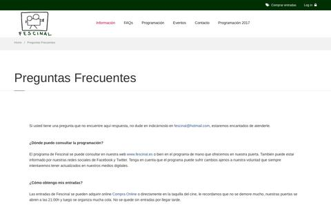 Screenshot of FAQ Page fescinal.es - Cine de Verano Madrid || Fescinal - captured July 1, 2017