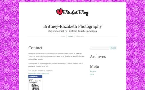 Screenshot of Contact Page wordpress.com - Contact | Brittney-Elizabeth Photography - captured Sept. 12, 2014