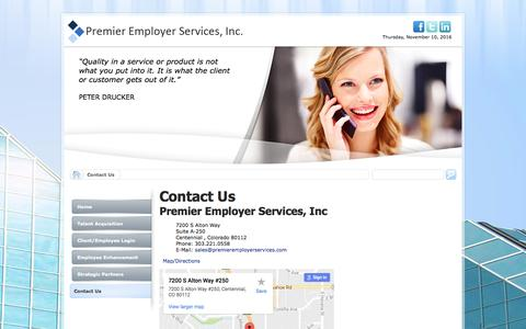 Screenshot of Contact Page premieremployerservices.com - Contact Us - captured Nov. 11, 2016