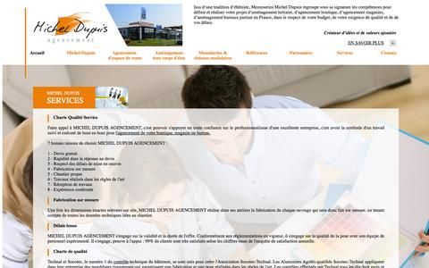 Screenshot of Services Page agencement-michel-dupuis.fr - Services, Agencement de magasin, agencement de boutique, amenagement de 	bureau, agencement tertiaire et restaurant : Michel Dupuis, fabrication 	sur mesure - captured Oct. 3, 2014