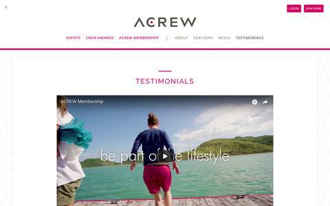 Screenshot of Testimonials Page acrew.com - Testimonials - ACREW - captured July 28, 2018