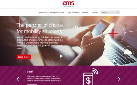 Screenshot of Home Page emsmobile.com - Enterprise Mobility Solutions | EMS - The Partner Of Choice For Mobility - captured Jan. 1, 2017