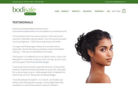 Screenshot of Testimonials Page bodisafe.com - Testimonials – bodisafe beauty - captured July 13, 2016