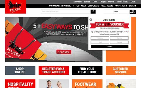 Screenshot of Home Page hippocketworkwear.com.au - Home Page - captured Aug. 18, 2017
