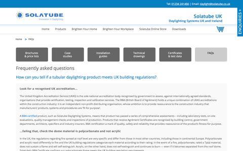 Screenshot of FAQ Page solatube.co.uk - FAQs | Solatube UK - captured Jan. 19, 2018