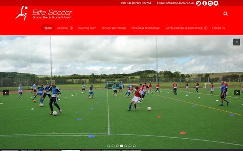 Screenshot of Home Page elite-soccer.co.uk - Elite Soccer – UK Soccer Coaching and Training - captured Nov. 10, 2018