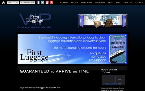 Screenshot of Home Page firstluggage.com - First Luggage VIP | Luggage Delivery Experts - captured Nov. 25, 2016
