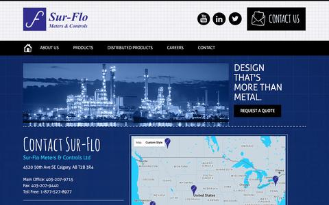 Screenshot of Contact Page Locations Page sur-flo.net - Sur-Flo Meters & Controls - Contact Us - captured Feb. 16, 2016