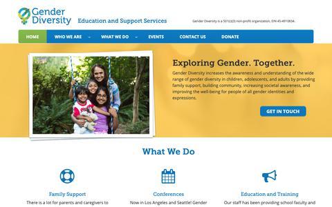 Screenshot of Home Page genderdiversity.org - Gender Diversity - Education and Support Services - captured Sept. 27, 2018