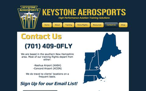Screenshot of Contact Page keystoneaerosports.com - Contact Us | Keystone Aerosports - captured Sept. 20, 2018