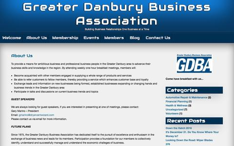 Screenshot of About Page danburybusiness.org - About Us – Greater Danbury Business Association - captured Oct. 6, 2016
