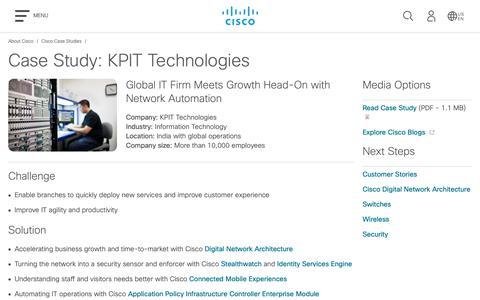 Screenshot of Case Studies Page cisco.com - Case Study: KPIT Technologies - Cisco - captured May 10, 2019