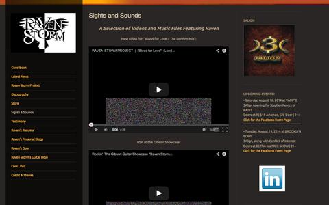 Screenshot of Press Page wordpress.com - Sights and Sounds | Raven Storm - captured Oct. 22, 2014