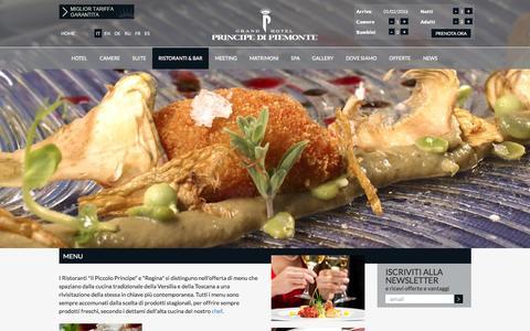 Screenshot of Menu Page principedipiemonte.com - Principe di Piemonte: ristoranti con menu tradizione toscana in Versilia - captured Feb. 1, 2016