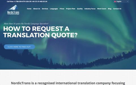 Screenshot of Home Page nordictrans.com - Professional Nordic Translation Services | NordicTrans - captured June 18, 2017