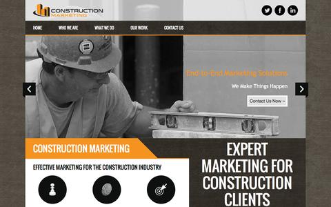 Screenshot of Home Page construction.marketing - Construction Industry | Ad Agency | Marketing - captured Oct. 2, 2014