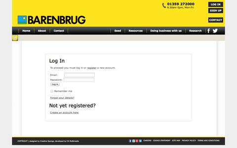 Screenshot of Login Page barenbrug.co.uk - Barenbrug UK - captured Sept. 30, 2014