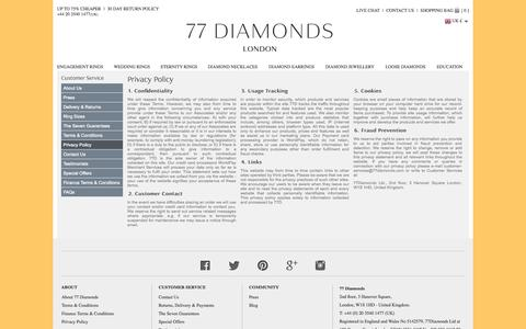 Screenshot of Privacy Page 77diamonds.com - Engagement Rings, Diamond Rings & Diamond Jewellery - 77 Diamonds - captured Sept. 22, 2014