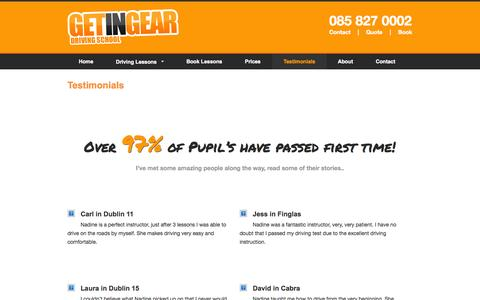 Screenshot of Testimonials Page getingear.ie - Testimonials from Passed Pupils at Get In Gear Driving School - captured Oct. 30, 2014