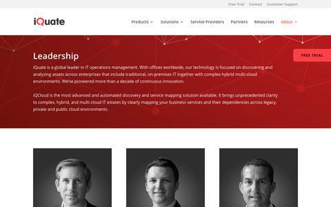 Screenshot of Team Page iquate.com - Leadership - Executive Team - iQuate - captured Sept. 20, 2018