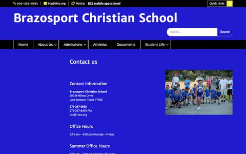 Screenshot of Contact Page 1bcs.org - Contact us | Brazosport Christian School - captured Oct. 11, 2017