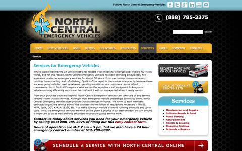Screenshot of Services Page ncemergencyvehicles.com - Emergency Vehicle Services - captured Oct. 23, 2017