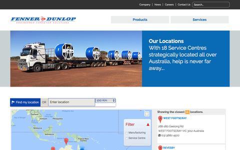 Screenshot of Maps & Directions Page fennerdunlop.com.au - Map | Fenner Dunlop - captured Oct. 13, 2017