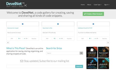 Screenshot of Home Page develnet.org - Snipped · Code Snippet Gallery - captured Sept. 11, 2015