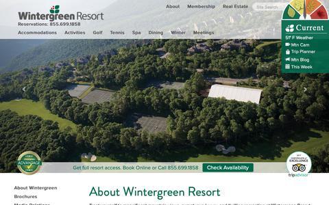 Screenshot of About Page wintergreenresort.com - Wintergreen Resort: Premier Blue Ridge Mountain Ski, Golf, Tennis, Spa and Family Vacation Resort in Virginia - captured Oct. 19, 2018