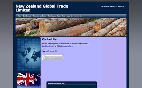Screenshot of Contact Page nzgtl.com - Contact Us | New Zealand Global Trade Limited - captured Oct. 26, 2014