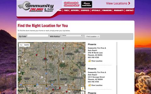 Screenshot of Maps & Directions Page communitytirepros.com - Community Tire Pros & Auto Repair - My Installers - captured Jan. 30, 2016