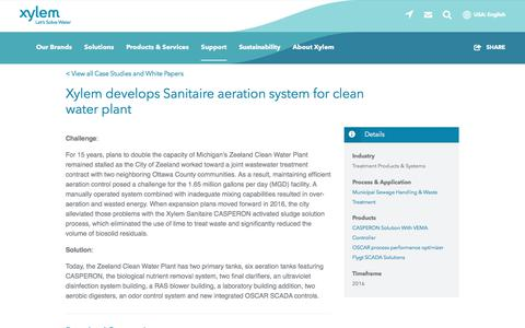 Screenshot of Case Studies Page xylem.com - Xylem develops Sanitaire aeration system for clean water plant   Xylem US - captured Nov. 9, 2019